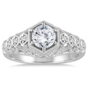 Marquee Jewels  14k White Gold 1 1/6ct TDW IGI-certified Diamond Antique-style Engagement Ring