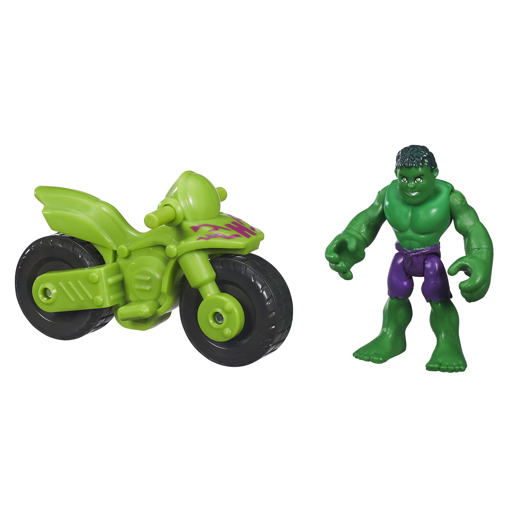 Playskool Heroes Marvel Super Hero Adventures Hulk Figure with Bike by Hasbro