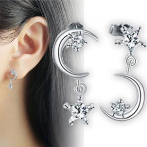 Zircon Star - Fancyleo Crystal Star Moon Dangle Earrings,Asymmetric Zircon Stars Moon Earrings for Women Girls Birthday Gifts
