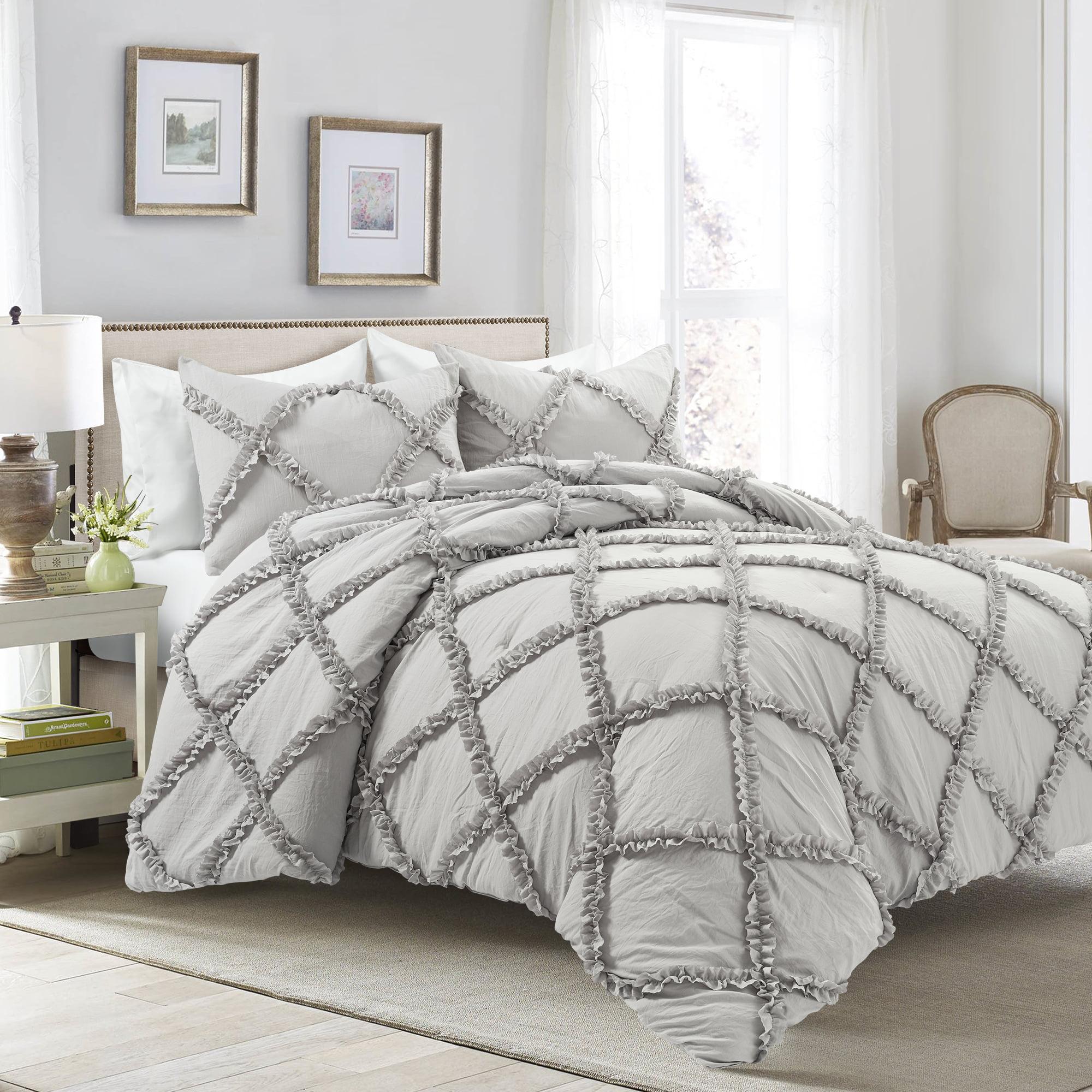 Lush Decor Ruffle Diamond Comforter Set Light Gray 3pc Set Full Queen Walmart Com Walmart Com