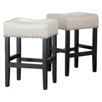 Backless Counter Stool in Ivory - Set of 2