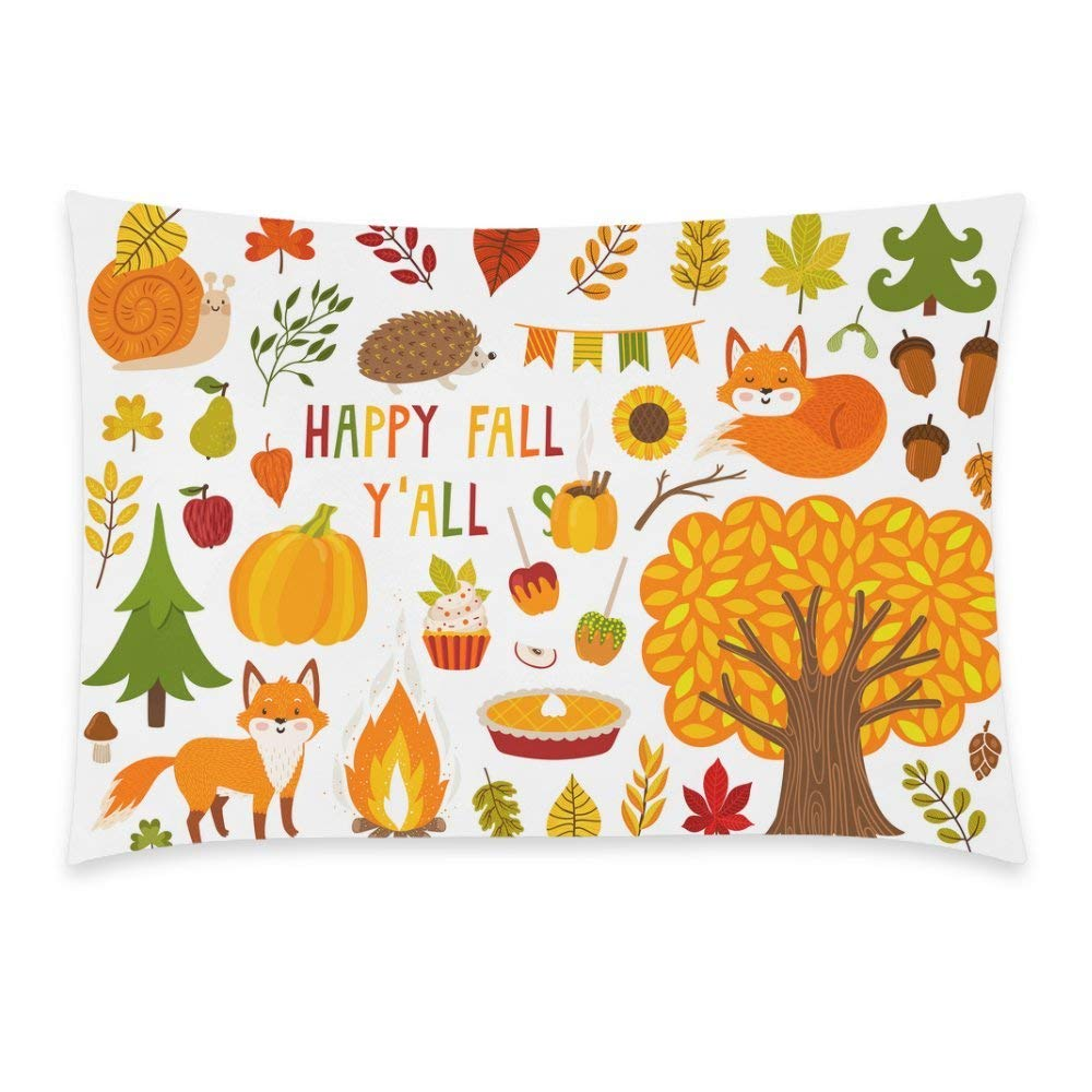 GCKG Happy Fall Season Harvest Festival or Thanksgiving Day Pillow Cover Case 20x30 inches,Cute Autumn Cartoon Character Plant and Food Pillow Case for - image 3 de 3