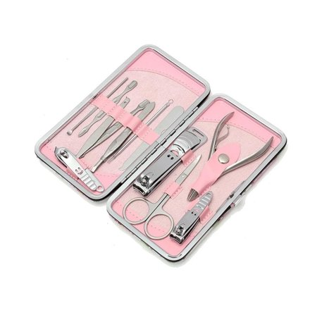 My Brush Set M.B.S 12 Piece Stainless Steel Professional Manicure Set Pink