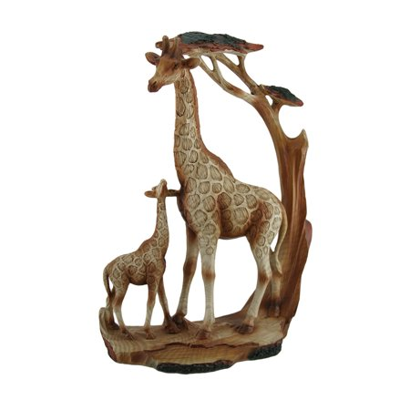 - Giraffe Family Carved Wood Look Resin Statue