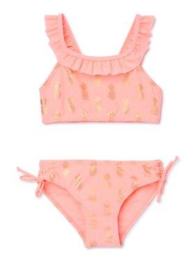 XOXO Girls Pineapple Ruffled Bikini Swimsuit, Sizes 4-16