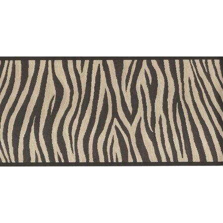 Block Wallpaper Border - 877856 Black and Brown Zebra Stripes Wallpaper Border