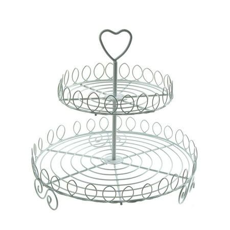 Round Metal Wire Cupcake Holder, 2-tier, 8-1/2-Inch, White ()