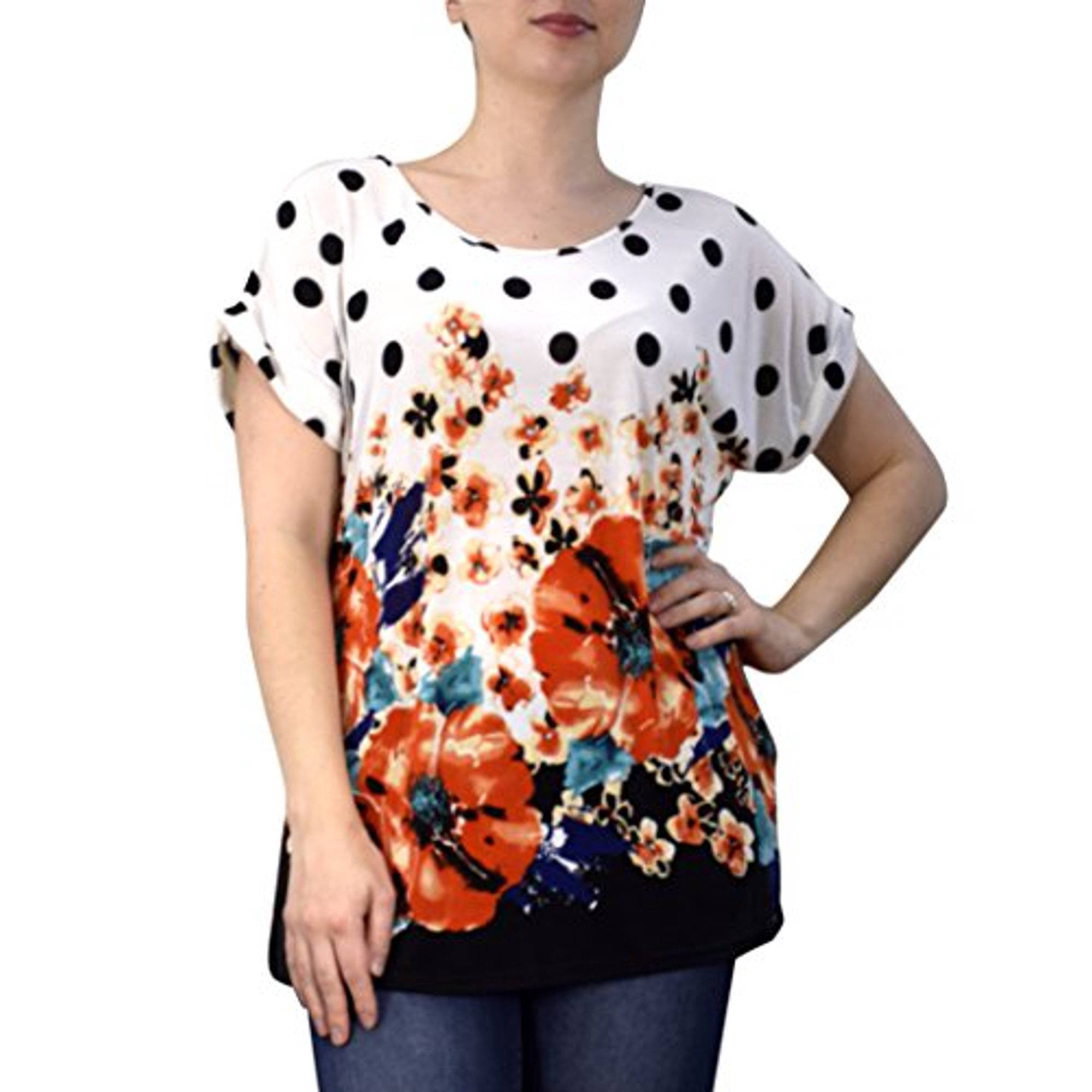 Peach Couture Boho Floral Print Light Weight Casual Summer Tops T Shirts  Blouse