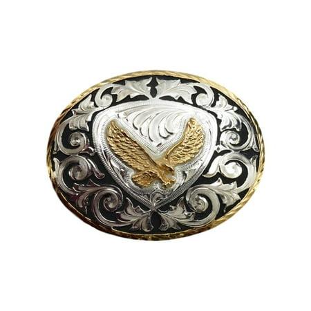 - Silver Strike Western Belt Buckle Oval Eagle Inlay Silver Gold BK330