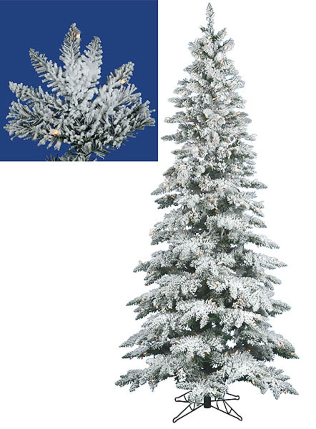 75 Pre Lit Snow Flocked Layered Utica Slim Christmas Tree Clear
