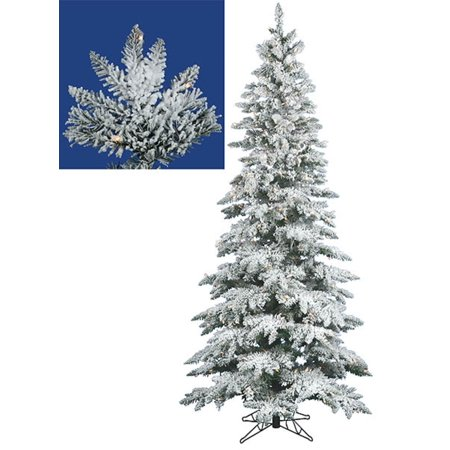 75 pre lit snow flocked layered utica slim christmas tree clear led lights - Slim Christmas Tree With Led Lights