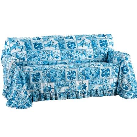 Fur Ruffle - Coastal Décor Blue Ruffled Furniture Throw Cover for Living Room, Loveseat, Blue