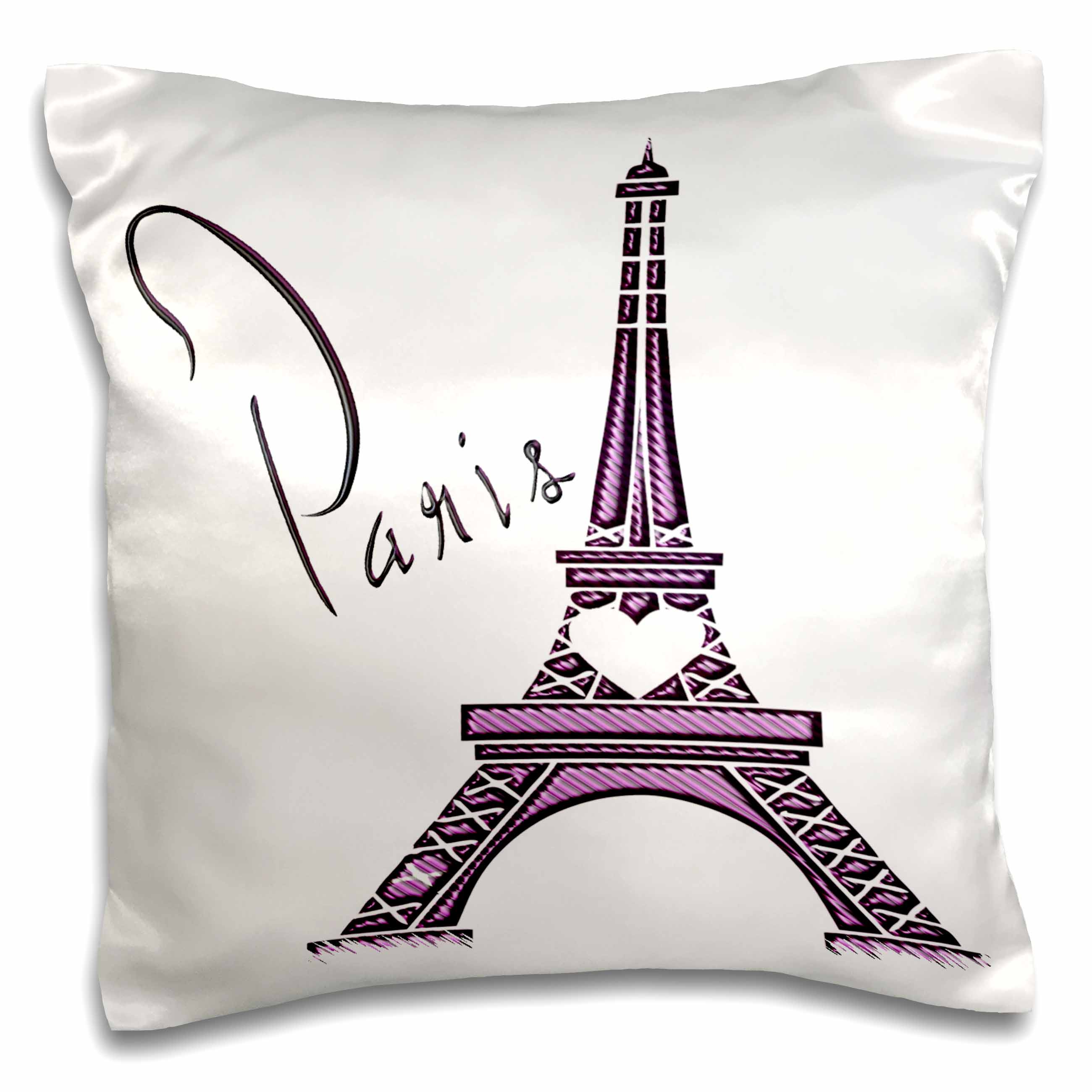 3dRose Purple Gel Effect One Dimensional Eiffel Tower With The Word Paris, Pillow Case, 16 by 16-inch