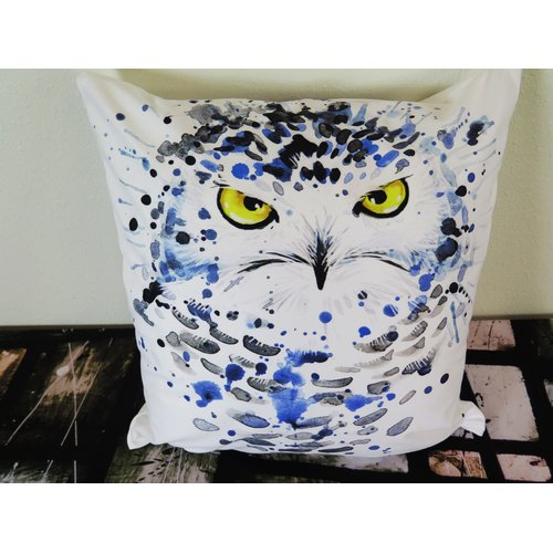 Arthouse Innovations Snowy Owl Illustration with Splash Throw Pillow