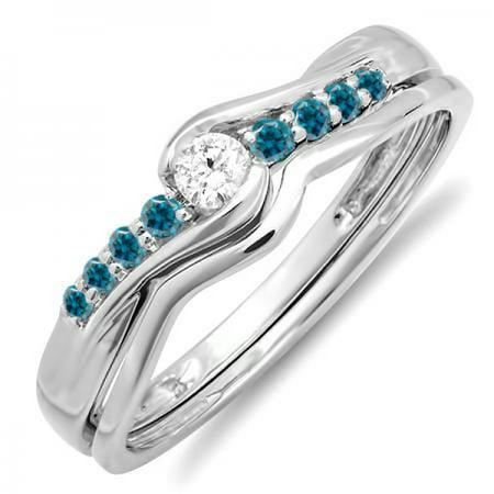 18k Pocket Watch (0.25 Carat (ctw) 18k White Gold Round Blue & White Diamond Bridal Engagement Wedding Ring Set 1/4 CT )