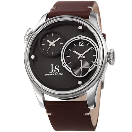 Men's Quartz Dual Time Stainless Steel Silver-Tone Leather Strap Watch