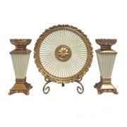 D'lusso Designs Desiree 4 Piece Charger,Stand and Candlestick Set