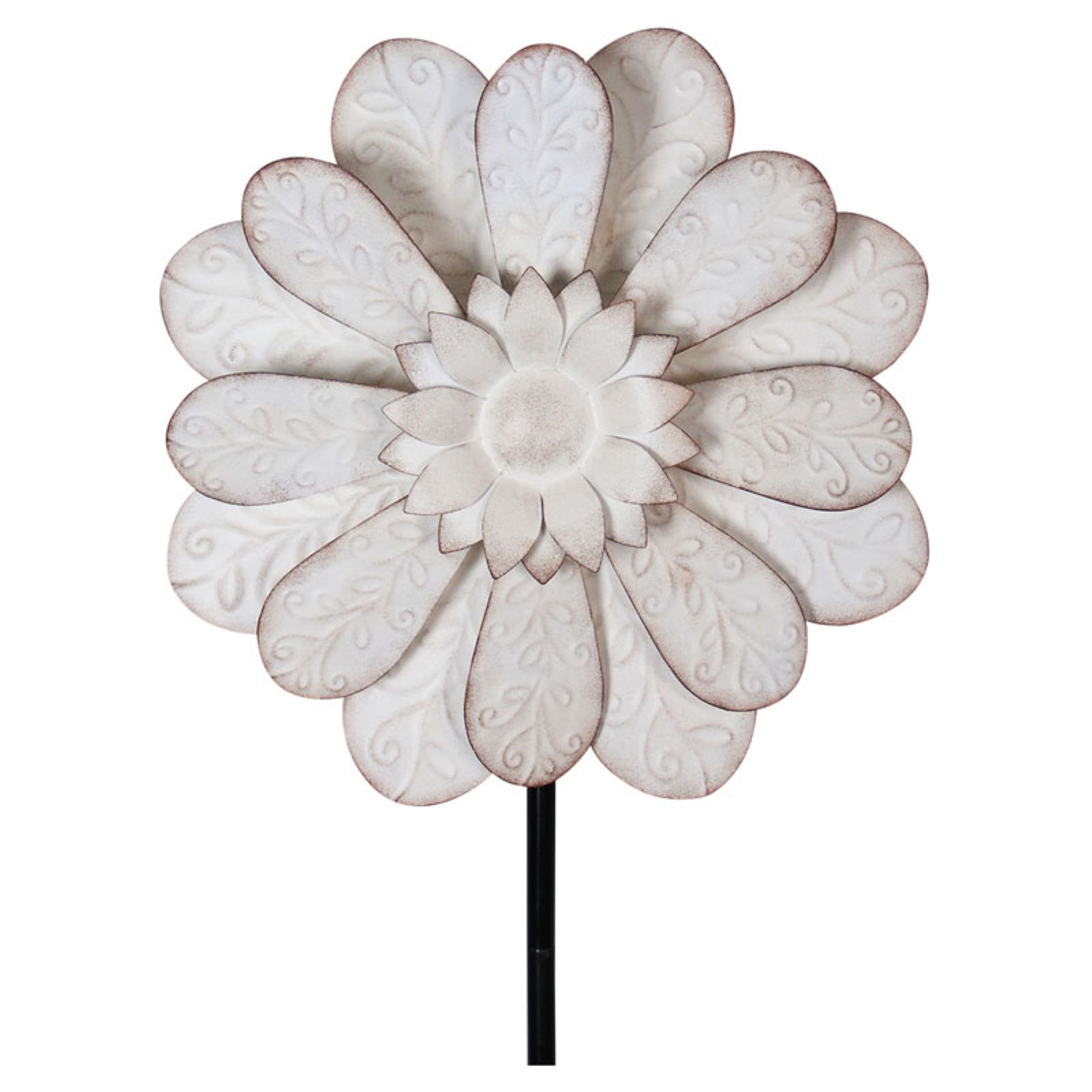 Exhart White Flower Kinetic Garden Stake