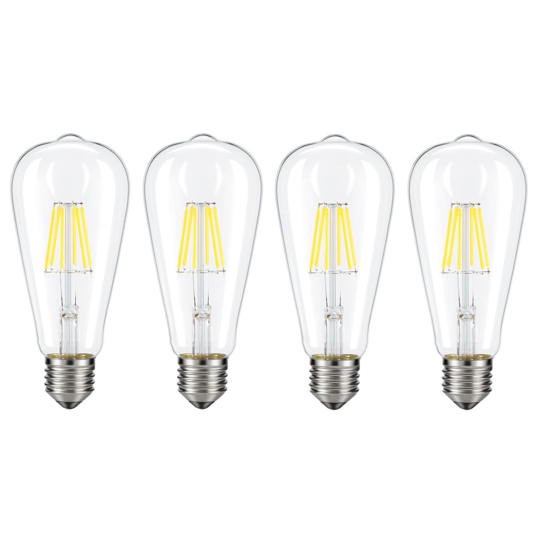 Dimmable Edison LED Bulb ST64 E26 Base for Restaurant,Home,Reading Room 60W Equivalent 6 Pack Daylight White, NOT Soft//Warm White Kohree 6W Vintage LED Filament Light Bulb Daylight White 4000K