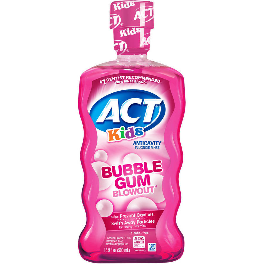 ACT Anticavity Kids Bubblegum Blowout Alcohol Free Fluoride Rinse, 16.9 fl oz