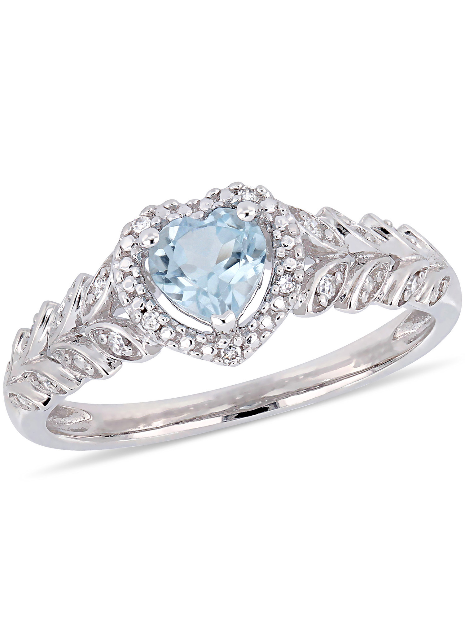 Tangelo 3 5 Carat T.G.W. Sky Blue Topaz and Diamond-Accent 10kt White Gold Heart Halo Ring by Delmar