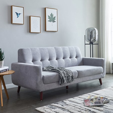 Sensational Gray Mid Century Modern Sofa 79W Modern Fabric Sofa For Small Spaces Rolled Arm Upholstered Sofas With Solid Wood Frame And Wood Leg Tufted Pabps2019 Chair Design Images Pabps2019Com