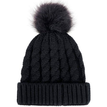Simplicity Winter Hand Knit Beanie Hat with Faux Fur Pompoms - Walmart.com a6392ccd9f8
