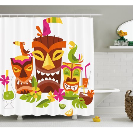 Luau Shower Curtain, Three Grimacing Tiki Party Masks Surrounded by Leaves Drinks and Happy Toucan Birds, Fabric Bathroom Set with Hooks, Multicolor, by Ambesonne