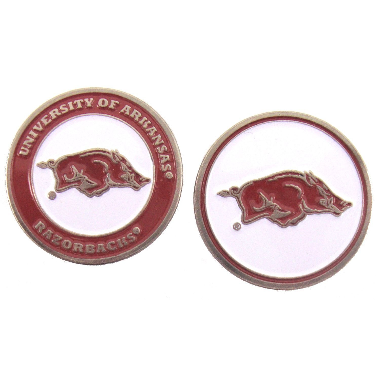 Arkansas Razorbacks Double-Sided Golf Ball Marker, 1 Team Logo Double Sided Ball Marker By Waggle Pro Shop,USA