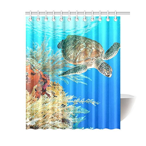 GCKG Deep Ocean Sea Turtle Shower Curtain Underwater World