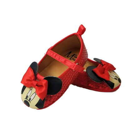 Disney Baby Infant Girls Red Sequins Minnie Mouse Ears Loafer House - Girls Red Sequin Shoes