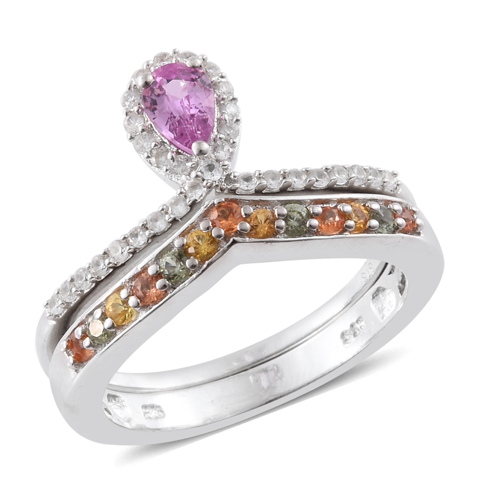 Set of 2 Pink Sapphire, Multi Sapphire, Zircon Platinum Plated Silver Drop Rings 1.06 cttw. Size 6 by Shop LC