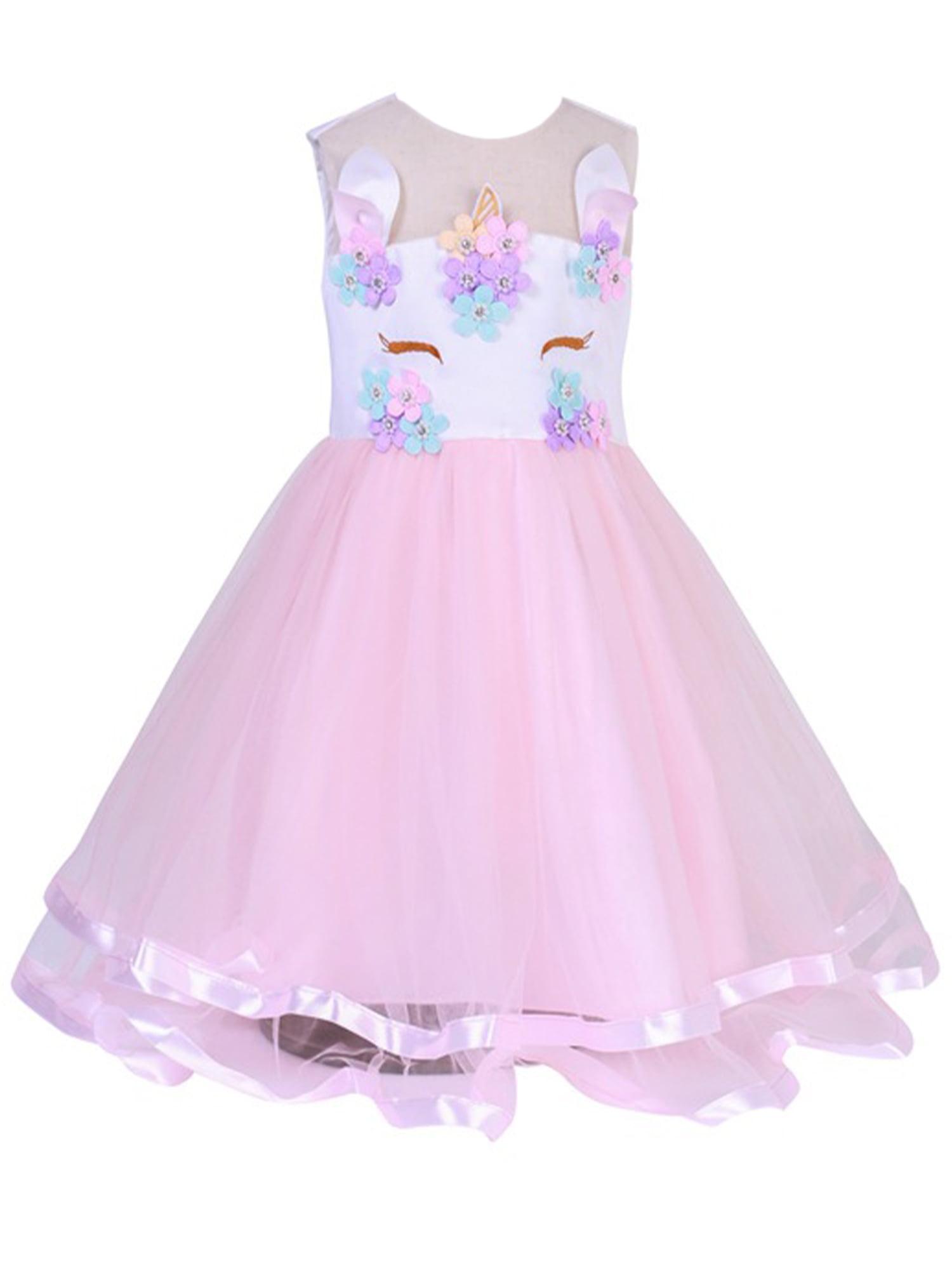 Kids Girls Princess Tutu Tulle Wedding Birthday Party Ball Gown Dress 2-10Years