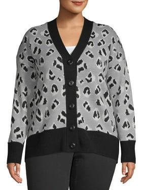 Heart & Crush Women's Plus Size V-neck Button Front Cardigan