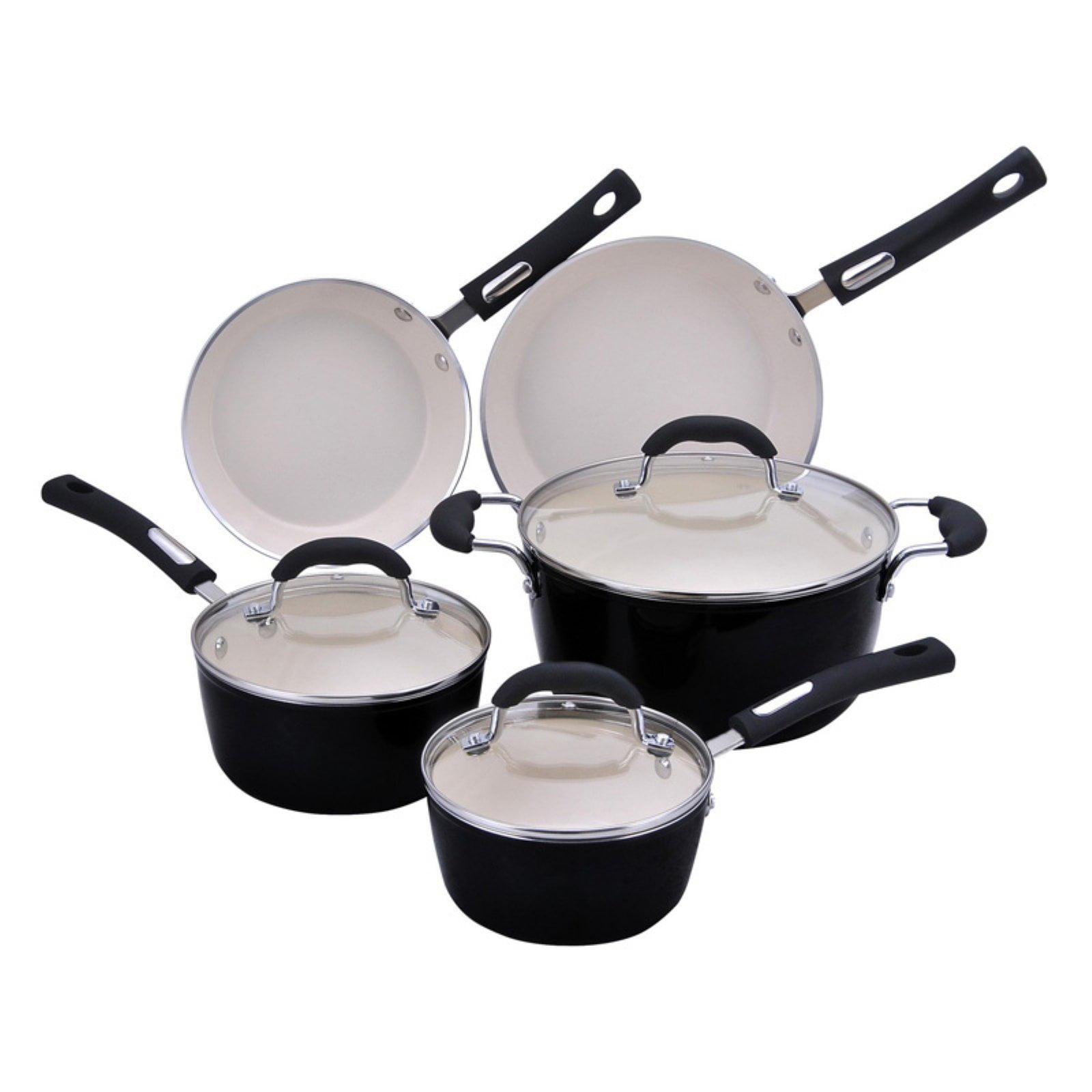 Hamilton Beach 8pc Aluminum Cookware Set, 3.0mm Forged, Black Porcelain Enamel, Cream Ceramic Non-Stick