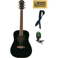 Oscar Schmidt 1/2 Size Student Black Spruce Top Acoustic Guitar FREE STRAP TUNER, OGHSB PACK