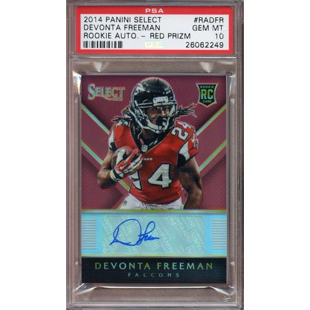 2014 Panini Select Rookie Auto Red Prizm  Radfr Devonta Freeman Rookie Psa 10