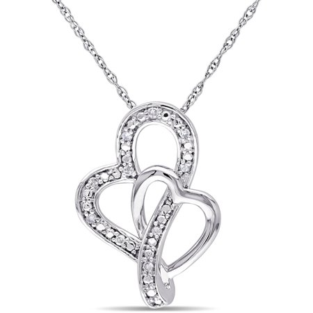 Diamond-Accent 10kt White Gold Double Heart Pendant, 17 Double Heart Diamond Pendant Necklace