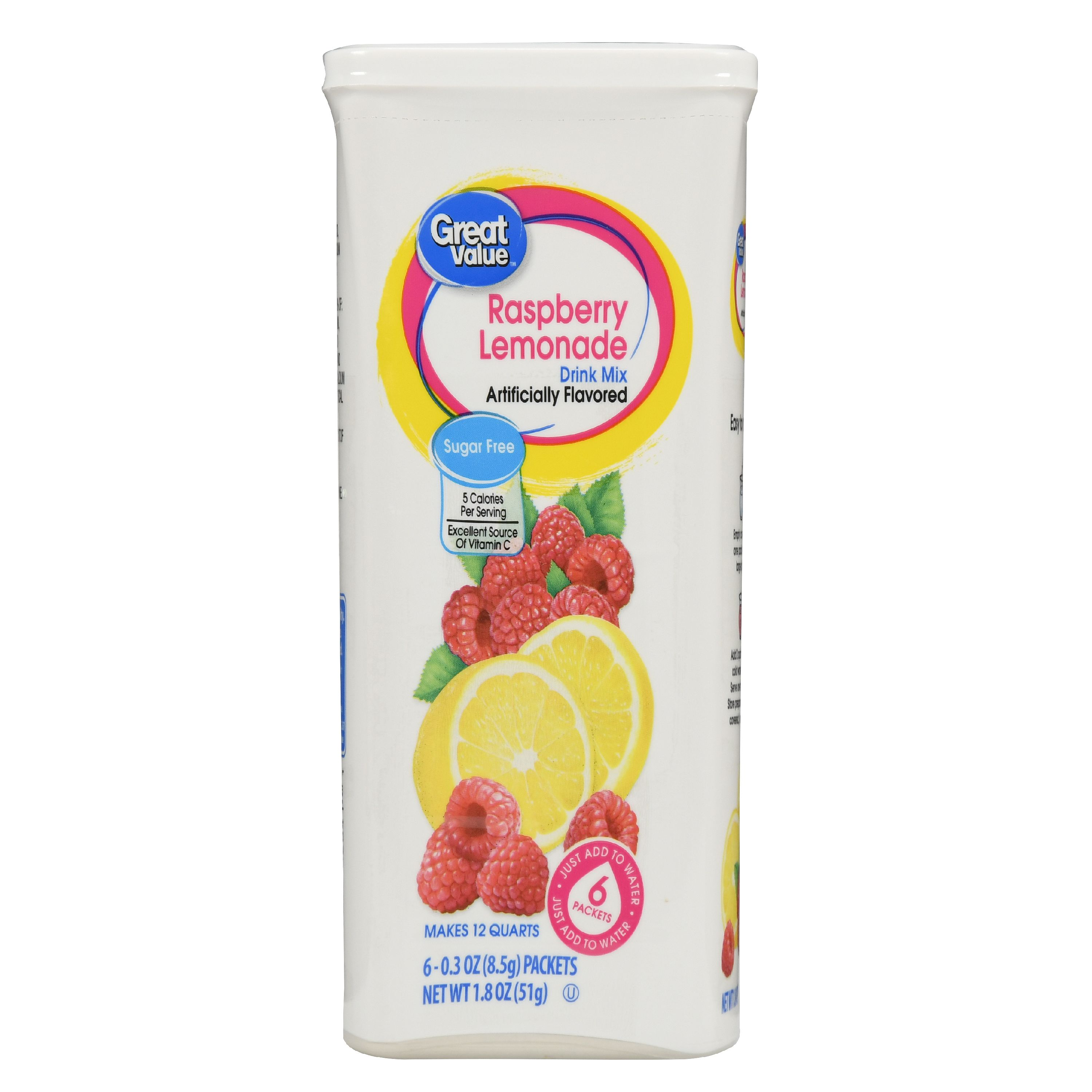 Great Value Drink Mix, Raspberry Lemonade, Sugar-Free, 1.8 oz, 6 Count