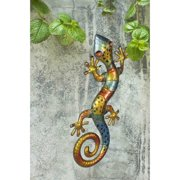 "Sunjoy 110311003 Gecko 25.5"" Hand-Painted Iron and Acrylic Outdoor Wall Decor, Multi-Color"