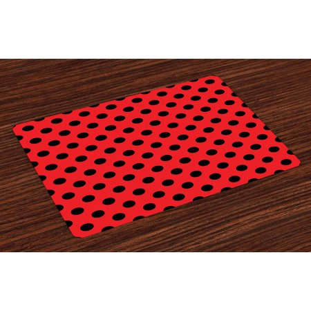 Halloween Rocking Chair Prop (Red and Black Placemats Set of 4 Retro Vintage Pop Art Theme Old 60s 50s Rocker Inspired Bold Polka Dots Image, Washable Fabric Place Mats for Dining Room Kitchen Table)