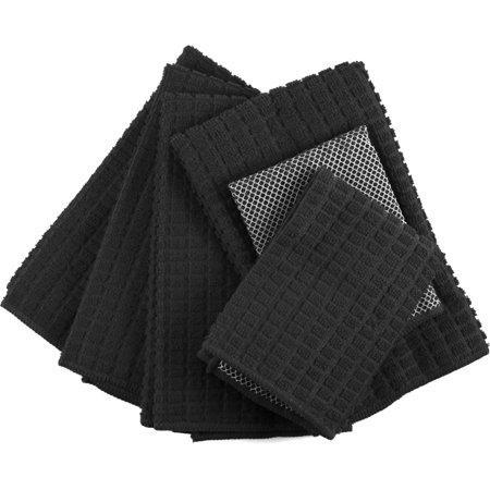 Black Microfiber 6 Piece Kitchen Towel (Microfiber Kitchen Towel Set)
