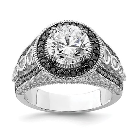 Sterlign Silver Rhod-plated Black and White Cubic Zirconia Halo Engagement Ring - Ring Size: 6 to 8
