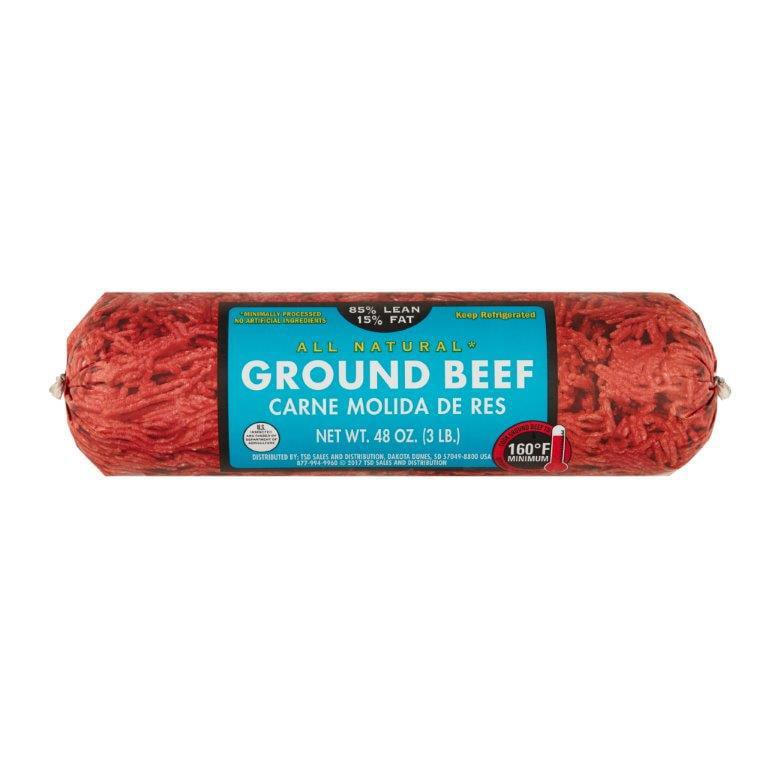 85% Lean/15% Fat, Fresh Ground Beef roll, 3 lb