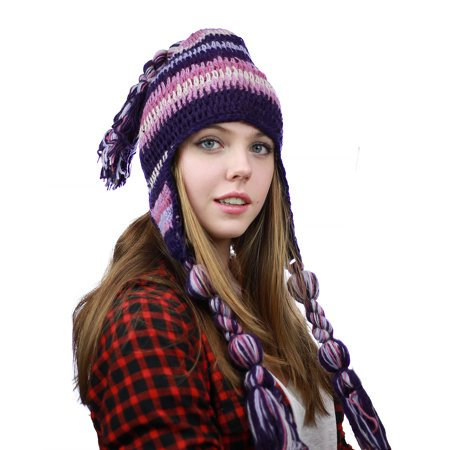 NYFASHION101 Nepal Handmade Ear Flaps Wool Fleece Lined Winter Hat - C10 PU