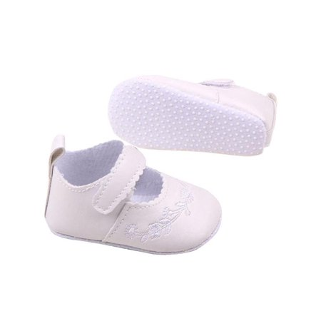 Lavaport Newborn Girl Mary Jane PU Leather Princess Flower Infant Crib Shoes - Plum Flower Girl Shoes