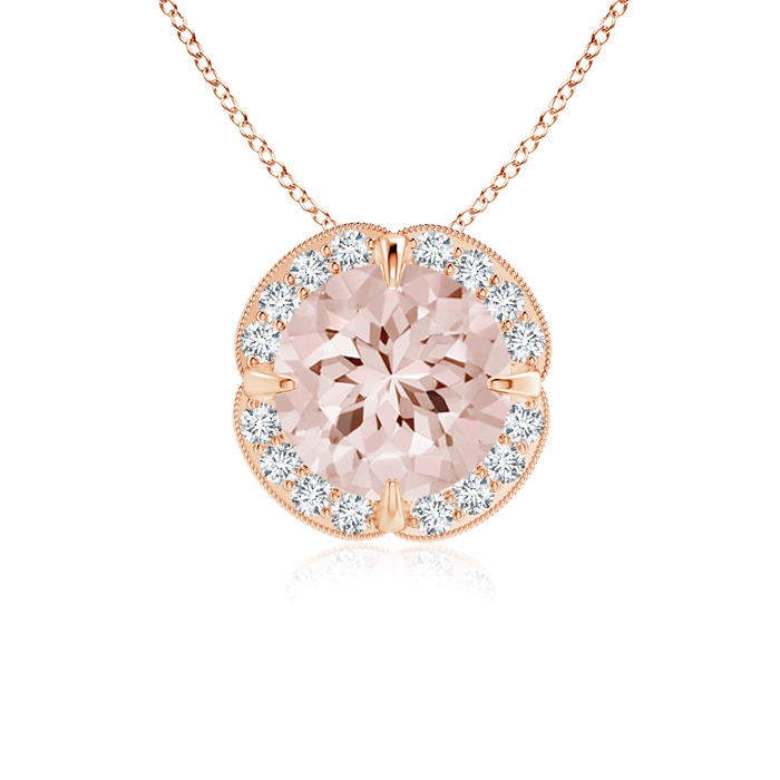 Angara Round Morganite Necklace Pendant for Women in Rose Gold ugHwIOY