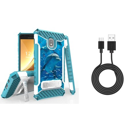 Bemz Accessory Bundle for Alcatel 1X Evolve - Tri-Shield Military Grade Kickstand Case (Dolphin) with Durable Micro USB Data Sync Cable (3 feet) and Atom Cloth