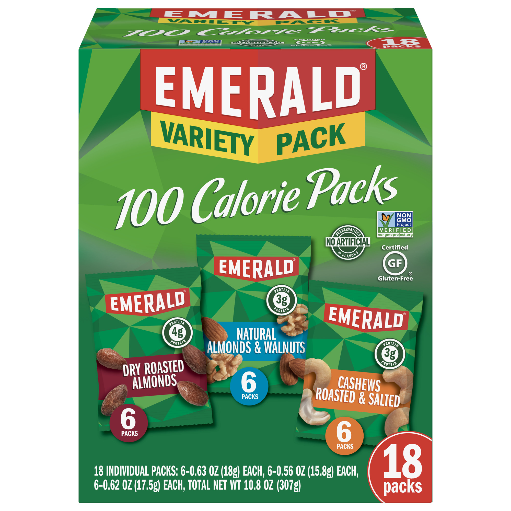 Emerald Nuts Variety Pack, 100 Calorie Almonds, Walnuts, Cashews, 18 Ct