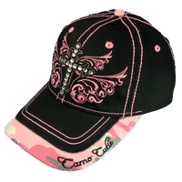 dcd99480415 Product Image Camo Cutie Cap Ladies Black Pink Rhinestone Cross Ball Cap  Womans Rhinestone Hat